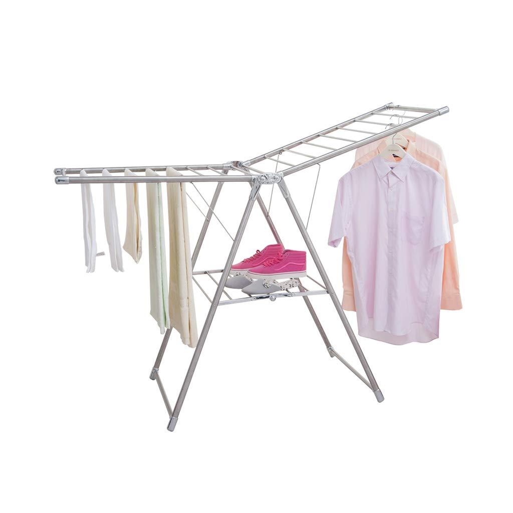 衣類ハンガー Airer衣類乾燥ラックステンレススチール屋内Foldable B07HQG64HP