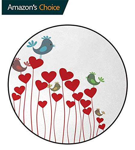 DESPKON-HOME Love Round Area Rugs Bedroom,Bird Sings Sitting Hearts Twitting Springtime Garden Valentines Lifts Basket Swivel Chair Pad Coffee Table Rug Diameter-24 Inch,Ruby Cadet Blue Green Mauve (Springtime Garden Basket)