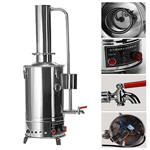 YUEWO 10L Water Control Type 380V New 304 Stainless Dental/Home/Lab Water Filter Purifier Electric Distiller Moonshine Still w/Heated Pipe Panel