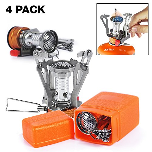 Price comparison product image PARTYSAVING [4-Pack] Pocket Size Collapsible Camping Stove Burner with Piezo Ignition System, APL1445