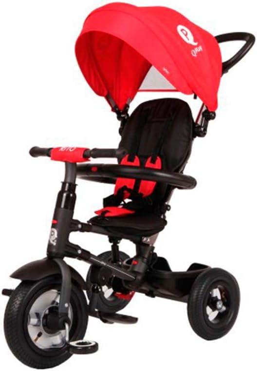 QPLAY Triciclo Evolutivo para Bebés Rito con Ruedas de Aire - Plegable - Rojo- De 10 a 36 Meses - Peso máximo soportable 25kg