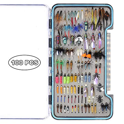 (YZD Trout Fly Fishing Flies Collection 194/118/69 Premium Flies Dry Wet Nymph Streamers Fly Assortment with Fly Box Flyfishing Flys Lures Kits (Realistic & Classic Fly Selection 100 Pcs))