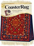 Lextra Red Silk Medallion CoasterRug, 5.5 x 3.5 Inches, Red, Gold and Navy, Set of Four (MSM-C)