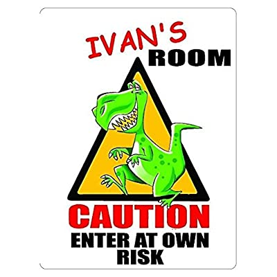 IVAN's Room Dinosaur Sticker Caution Entering Kids Room Sticker Decal Decor Graphic Decorative Nursery Sticker: Automotive