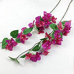 jiumengya 10pcs Silk Bougainvillea Glabra Climbing Bougainvillea spectabilis Artificial Bougainvillea Tree Branches 31.5″ six Colors for Wedding Centerpieces (deep Pink & Fuchsia)