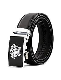 KHC Men's Belt 100% High Quality Leather Automatic Adjustable Buckle Black