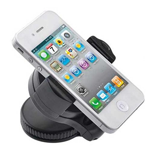 Car Mount Phone Holder Windshield Swivel Cradle Window Rotating Dock Stand Suction Black for ZTE ZMax Champ - US Cellular Alcatel OneTouch Shockwave - US Cellular HTC One V