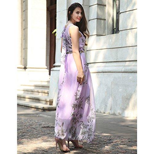 Ruiyige Mujeres Floral Impresi?n Partido Vestido Maxi Partido Vestido Para La Boda Floral-púrpura
