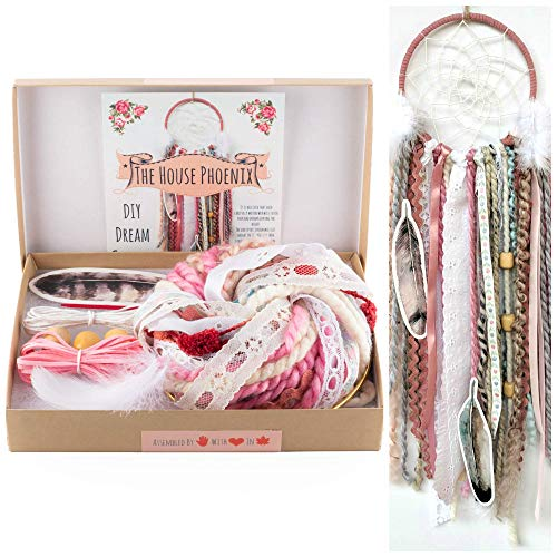 Pink DIY Dream Catcher Kit Craft Project Do It Yourself Valentine's Day Gift for Girls from The House Phoenix