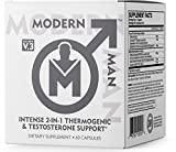 Modern Man V3 - Testosterone Booster + Thermogenic Fat Burner for Men, Boost Focus, Energy & Alpha...