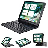 LENRICH iPad pro 12.9 case with keyboard 2017 2015,360 Rotatable Wireless Keyboard Smart Folio 180 Swivel Stand Hard Shell Cover Auto Sleep/Wake up Black