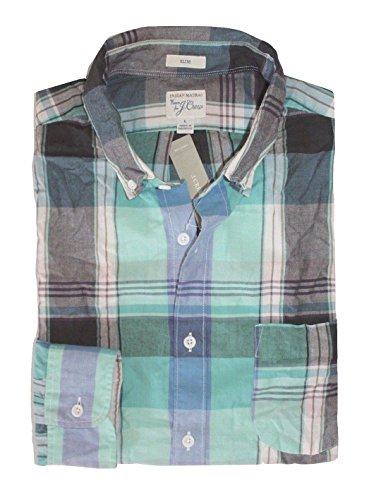 J Crew Men's Slim Fit - Turquoise/Black Plaid Madras Shirt (Large Tall)