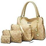 PU Leather Shoulder Bags for Women - Shoulder Bags, Crossbody Bag, Handbag & Pouch\Card Holder Combo Set (Golden) - Hand Bags for Ladies (Golden) - Set of 4