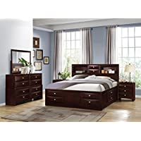 Roundhill Furniture Ankara Wood Construction Bedroom Set, Includes Queen Bed, Dresser Mirror with 2 Nightstands, Espresso