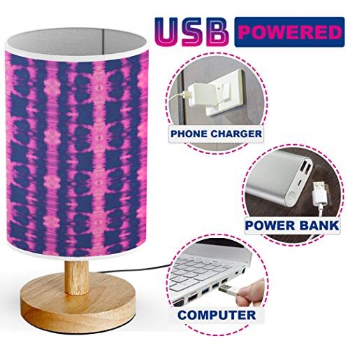 ARTSYLAMP - USB Powered Wood Base Desk Table Bedside Lamp [ Tie Dye ] (Tie Dye Lamp Shade)