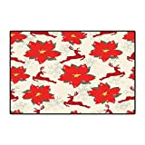 Christmas Door Mat Outside Vibrant Poinsettia Flowers with Galloping Reindeers and Snowflake Figures Floor Mat Pattern 32'x48' Scarlet Ruby Beige