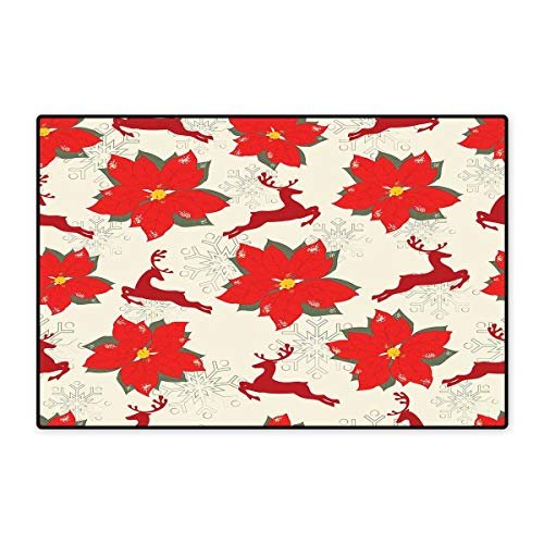 Reindeer Topiary (Christmas Bath Mat Non Slip Vibrant Poinsettia Flowers with Galloping Reindeers and Snowflake Figures Customize Door mats for Home Mat 24