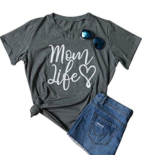 (LAMOSKY Women Mom Lift Heart Letter Print V Neck T-Shirt Short Sleeve Top Blouse Shirt Size Medium (Gray))