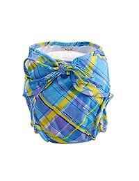 [Checkered Design] Adjustable Infant Swim Diaper with Ties, Size Medium