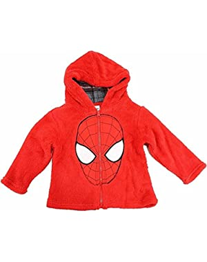 Marvel Spiderman Toddler Boy's Spiderman Mask Red Full Zip Velboa Hoodie!