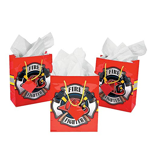 Fun Express - Med Fire House Hero Gift Bag (dz) for Birthday - Party Supplies - Bags - Paper Gift W & Handles - Birthday - 12 Pieces