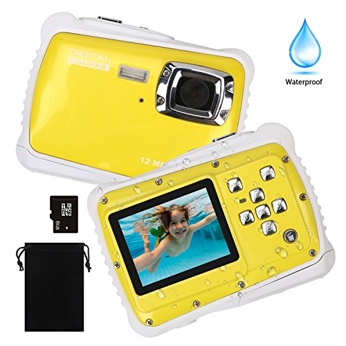 DECOMEN Kids Digital Camera, Underwater Camera Waterproof Camera with 8G SD card 12MP HD Pixels For Children Boys Girls Gift Toys