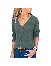 Naivikid Women's Knit Tunic Long Sleeve V-Neck Loose Casual Pullover Tee T-Shirt Tops S-XXXL
