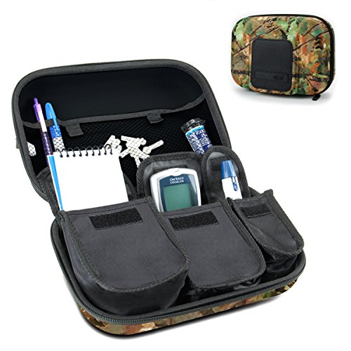 - USA Gear Diabetic Supplies Travel Case Organizer for Blood Glucose Monitoring Systems, Syringes, Pens, Insulin Vials & Lancets - Compatible with ACCU-CHEK Nano, Bayer Contour, TRUEtest - Camo Woods