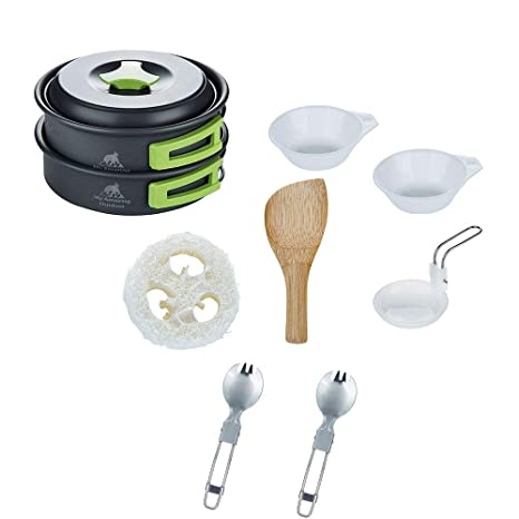 My Amazing Outdoor Inc Camp Mess Kit Compact Portable and Lightweight-Space Saver Camping cookware Set That is Stackable-Scouting Survival and Hiking Dishwear Kit 19 pcs with Multitool Spork