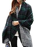 Urban CoCo Women's Soft Tartan Checked Plaid Scarf Shawl Cape Blanket Shawl Wrap Scarf Poncho with Fringe Trims (Series 1 green)