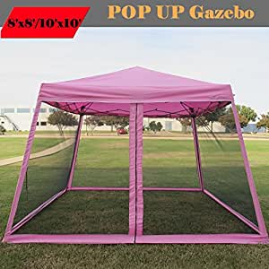 8 39 x8 39 10 39 x10 39 pop up canopy party tent gazebo ez with net pink family tents. Black Bedroom Furniture Sets. Home Design Ideas