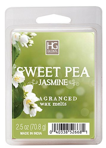 Hosley's Sweet Pea Jasmine Scented Wax Cubes / Melts -2.5 oz - Hand poured wax infused with essential oils. Perfect for everyday use, wedding, events, aromatherapy,Spa, Reiki, Meditation. HG Global FBA-BS52668WD-1-EA