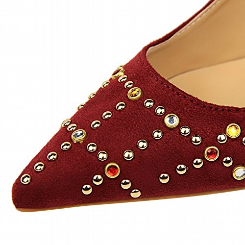 Latasa Womens colorful Studs Pointed-Toe High Heel Pumps Dark Red McMhju