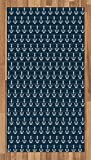 Lunarable Nautical Area Rug, Anchor Pattern Marine Themed Symmetric Adventure Cottage Ship Boat Motif, Flat Woven Accent Rug for Living Room Bedroom Dining Room, 4 x 6 FT, Petrol Blue White