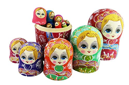 Winterworm Colorful Little Girl Heart Pattern Wooden Handmade Russian Nesting Dolls Matryoshka Dolls Set 15 Pieces for Kids Toy Birthday Home Decoration Collection by Winterworm (Image #5)