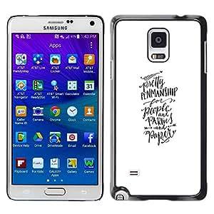 Paccase / SLIM PC / Aliminium Casa Carcasa Funda Case Cover - Calligraphy Hand Written Text - Samsung Galaxy Note 4 SM-N910F SM-N910K SM-N910C SM-N910W8 SM-N910U SM-N910