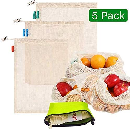 LAAT bolsa de producción reutilizable, Bolsa Reutilizable Algodon de Vegetales Malla, Bolsas Reutilizables Compra para Fruta Verduras Juguetes Lavable 5 Traje(1xS/2xM/1xL): Amazon.es: Hogar