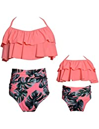 3f02eb8c89 Mommy and Me Swimsuits High Waisted Family Matching Swimwear Baby Girls  Floral Printed Bikini Set