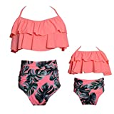 Mommy and Me Swimsuits High Waisted Family Matching Swimwear Baby Girls Floral Printed Bikini Set (5-6T, 03-Pink-Girl)