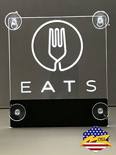 Uber EATS LED Lit Sign, Car Sign with No Cord, rechargeable batteries (No more wasting your money buying regular AA batteries) HELPING THE ENVIRONMENT! AVAILABLE IN 8 COLORS