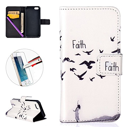(iPhone 5C Case, ISADENSER 3D Embossing Case Stylish Wallet Case Kickstand Credit Cards Cash Pockets for iPhone 5C + 1 Stylus Pen + 1 Screen Protector Film for Faith Series )