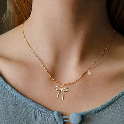 - Cute Arrow Bow Spider Pendat Necklace Fashion Simple Crystal Bowknot Chain Jewelry for Women and Girl (Gold B)