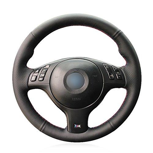 (MEWANT Customized Genuine Leather Car Steering Wheel Cover for BMW E46 E39 330i 540i 525i 530i 330Ci M3 2001-2003)