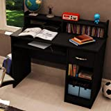 Sturdy Office/Home Desk with Sliding Keyboard/Mouse Tray, Cable Management, 2 adjustable shelves, Made with Non-toxic Materials and Components, Black + Expert Home Guide by Love US