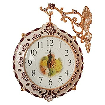 Reloj de Pared Reloj de Pared Vintage Creativo Creativo canastas con Flores de Resina jardín Bell Relojes Reloj de Pared Doble Cara habitación,Plata: ...
