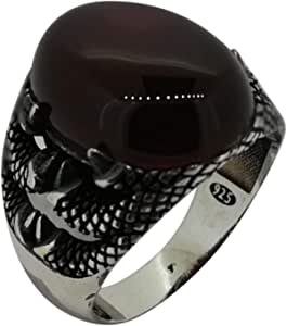 خاتم مخلب النمر مع  حجر عقيق مقاس 9.5