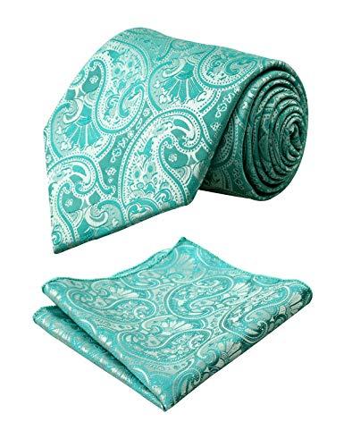 Alizeal Men Paisley Neck Tie Tie Handkerchief Set, ()