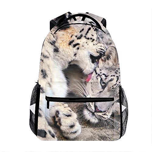 3D Animal Snow Leopard Cats School Backpacks Travel