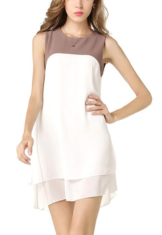 SMITHROAD Damen Chiffon Kleider Sommerkleid Blusenkleid Rundhals Ausschnitt Ärmellos Kurz elegant sommerlich Gr.36-42