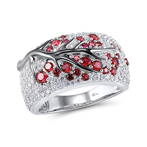 (Santuzza 925 Sterling Silver Ring Delicate Pink Cherry Tree Created Ruby Shiny White Cubic Zirconia (6.5) )